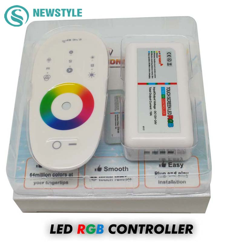 1set/lot DC12-24V 18A RGB led controller 2.4G touch screen RF remote control for 5050/3528 RGB led strip/bulb/downlight(China (Mainland))