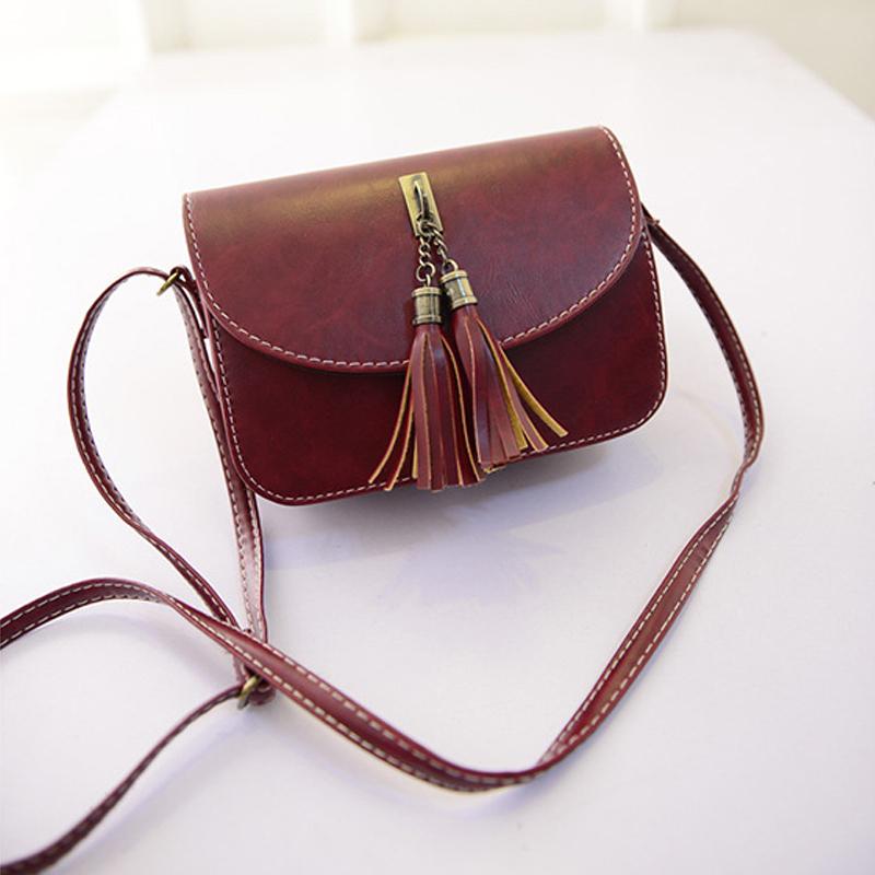 women leather handbag crossbody messenger bags over shoulder retro little mini fringe Cover solid ladies small bolsa casual PU(China (Mainland))