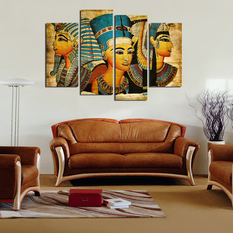 Large wall art canvas pharaoh of egyptian home decoration for Big wall art