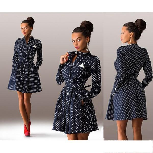 2015 Female Dot Decoration Sleeved Thin Models Slim Sexy Mini Dress Casual Style Dress Three Colors Dress Vestidos Q0009(China (Mainland))