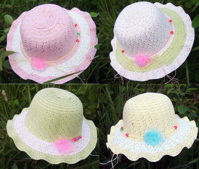 Girls summer Hat Novel Girls hat Sun Hat 26cm Straw Hat 100pcs a Lot