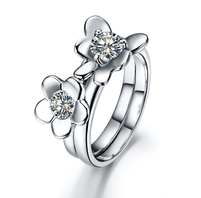 Flower Designer Ring Set Wholesale 1Ct SONA Synthetic Diamond Engagement Ring For Women Wedding Sterling Silver Jewelry Promise(China (Mainland))