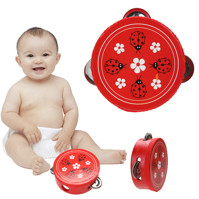 Educational Cartoon Wooden Baby Hand Drum Toys Musical Tambourine Beat Instrument Handbell Good Gift(China (Mainland))