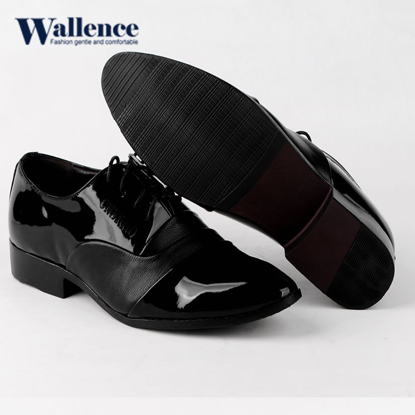 2015 pointed toe shoes men oxfords cow muscle solid male formal dress shoes lace-up plain black leather wedding shoes men(China (Mainland))