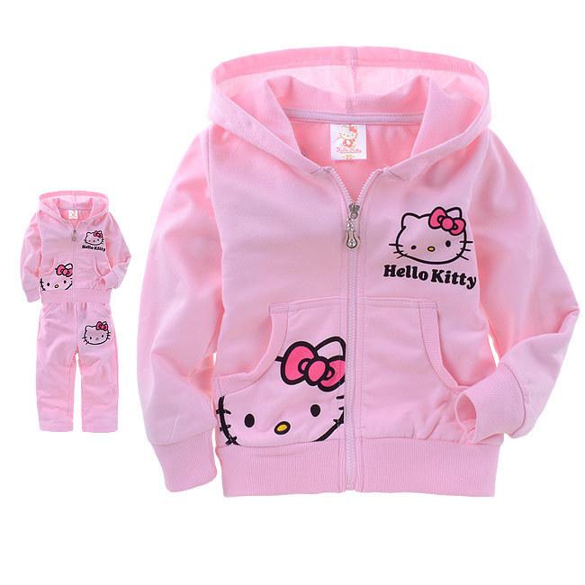 Hello Kitty girls clothing sets 2015 Autumn Winter pijamas kids tracksuit KT baby girl Cartoon Clothes Set ensemble fille(China (Mainland))