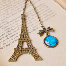 12 pieces/lot Creative Metal Paris Eiffel Tower Bookmark for Wedding with Blue Cabochon Pendant Vintage Antique Jewelry sq009(China (Mainland))