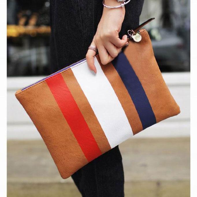 Promotion 2015 new fashion designer Retro Large women handbag day clutch All match PU leather stripe women clutch bag(China (Mainland))