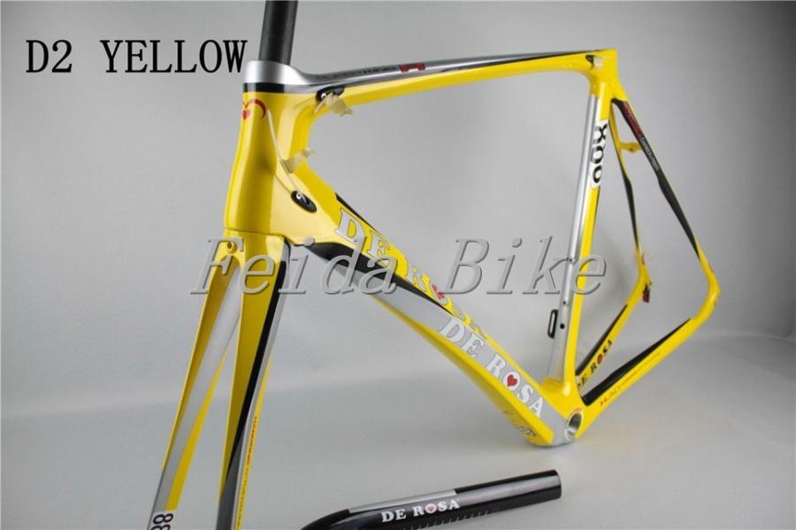carbon frame 2015 carbon road bike frame clycing frameset carbon bicycle frame road bike bicycle frame de rosa D2 yellow(China (Mainland))