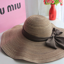 HOT 2016 New Fashion sun hats Summer Cotton sun visor hat  Beach hat for women ladies Large brim hat With Ribbons free shipping(China (Mainland))