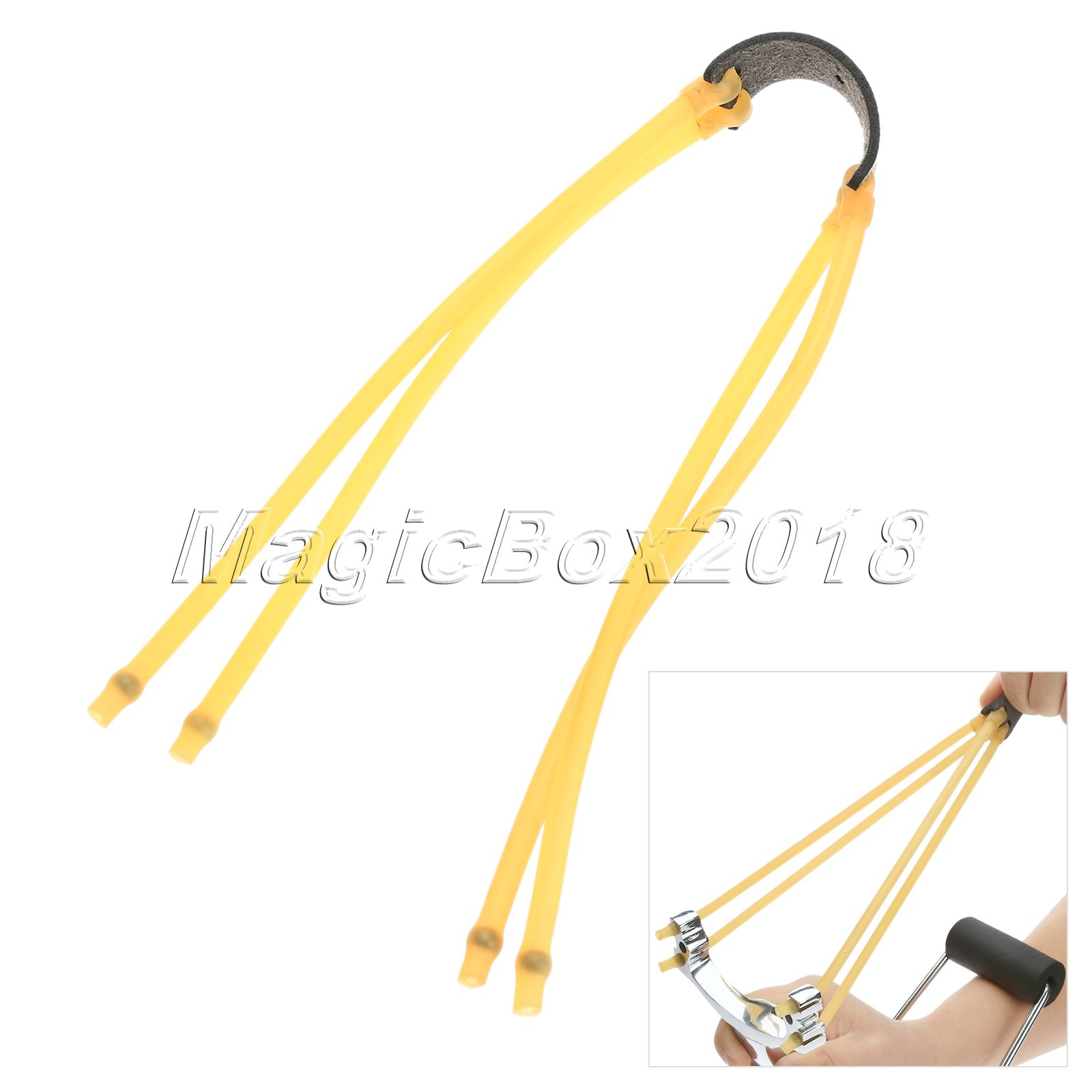 1Pc New Yellow Powerful 4Strips Elastic Rubber Band With Steel Ball Clips For Slingshot Accessories Outdoor Sports Hunting Parts(China (Mainland))