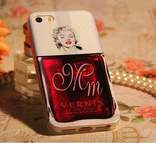 Luxury Glitter Soft TPU Marilyn Monroe Nail Polish Case Cover For iPhone 4 4S 5 5S(China (Mainland))