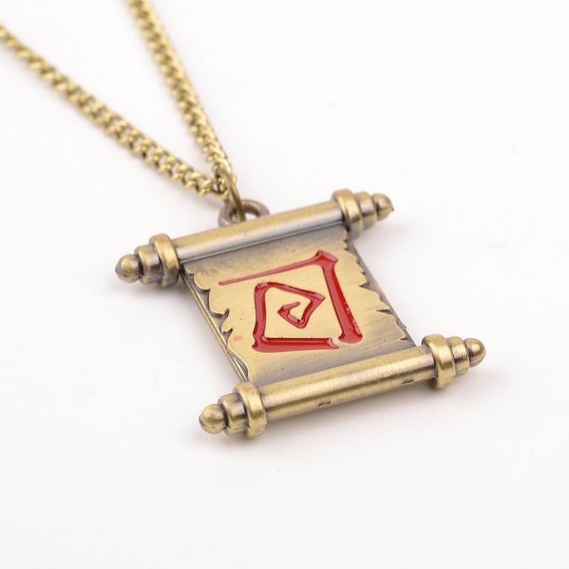 12 pcs/lot Wholesale Online Game Dota 2 Reel Necklace transfer scroll Fashion Dota2 Lover's Pendant jewelry gift man women(China (Mainland))