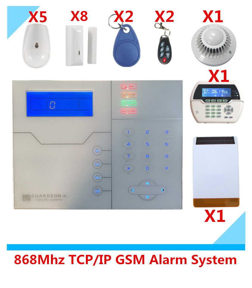 New ! Web IE Browse And App control 868Mhz wireless TCP/IP GSM Alarm system Smart Home Alarm System with Solar Strobe siren<br><br>Aliexpress