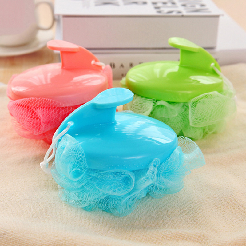 Factory Outlet Lace Mesh Bath Sponge With Handle Bathing Spa Shower Scrubber Muticolor Bath Brushes,JSF-Bath Brushes-003(China (Mainland))