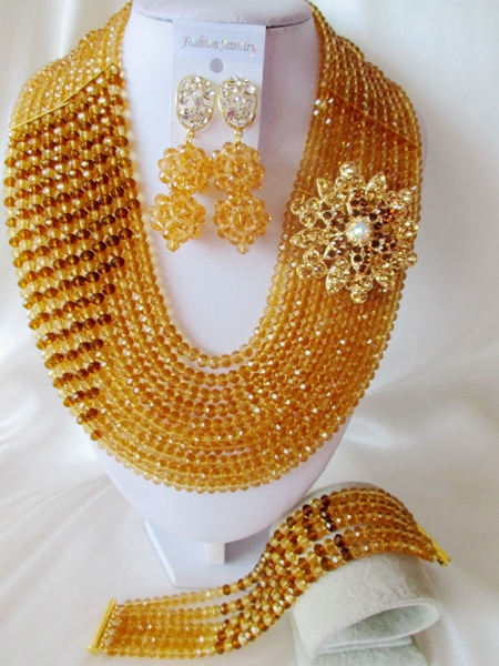 2015 Fashion Champagne Gold african crystal beads necklace set nigerian wedding african beads jewelry set Free shipping P-1212<br><br>Aliexpress