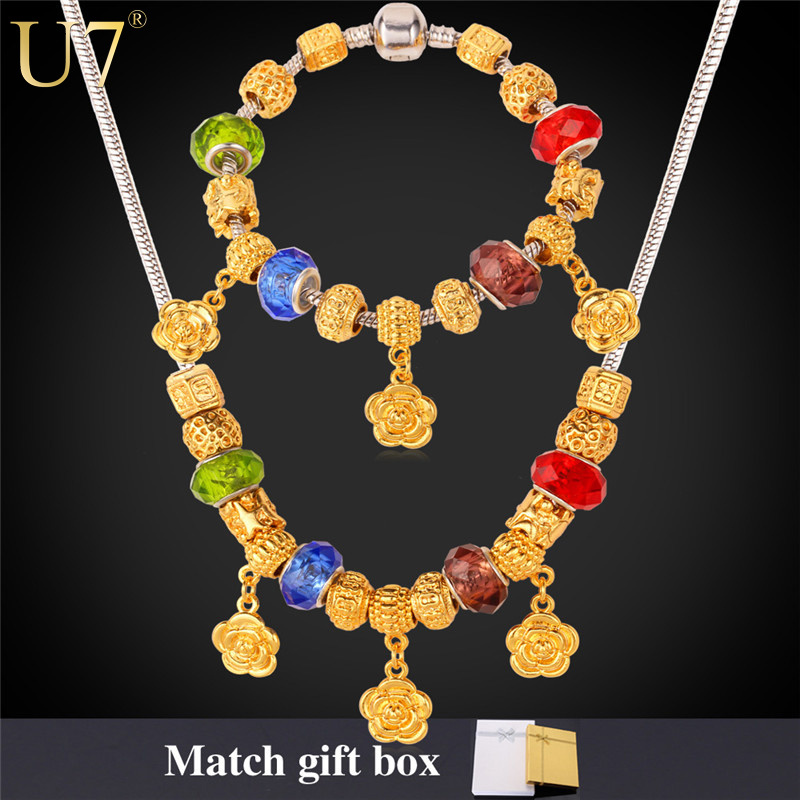 DIY Beads Necklace Set Trendy 2015 New 18K Real Gold Plated Colorful Crystal Flower Necklace Bracelet Jewelry Set For Women S599(China (Mainland))