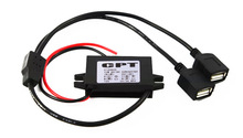 New Dual Double 2 Port USB DC-DC Car Power Converter 12V To 5V 3A 15W Power Adapter+ Free Shipping with Track Number 12001311(China (Mainland))