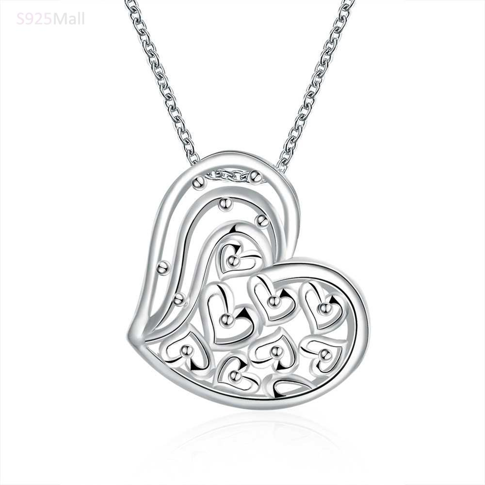 more heart design collect love pendant necklace for women silver plated gift hot brand new fashion lovely necklace jewelry(China (Mainland))