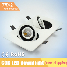 7W*2 Double Heads COB Square Rotary Gimbal Led Downlight Recessed Grid Ceiling Lamp Tiltable Led Indoor Luminaire Lampadas Led(China (Mainland))