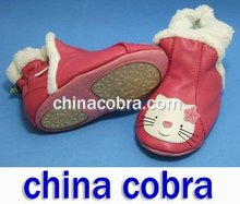 free shipping soft sole leather baby boots winter boots snow boots(China (Mainland))