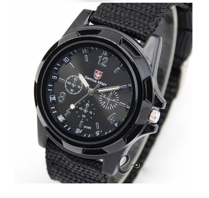 2015 New Brand Ge mius Military Quartz Army Watch Canvas Strap Fabric Watch Men Outdoor Sport
