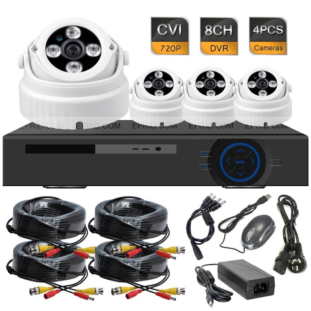 8CH 720P Realtime HD-CVI DVR System 4PCS Indoor Array IR 1.0MP Security Camera<br><br>Aliexpress