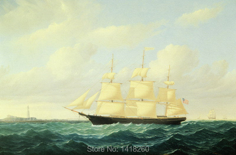 canvas painting prints poster art wall decoration: Dashing Wave, clipper ship off Boston Light by William Bradford(China (Mainland))