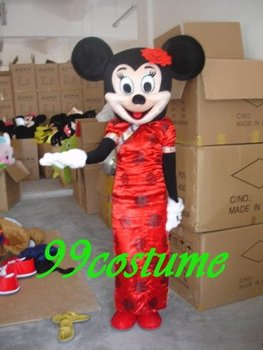 Free Shipping Adult Size Tangsuit Minnie Mouse Cartoon Cosplay Mascot Costume Cosplay Christmas Hallowmas Party Dress