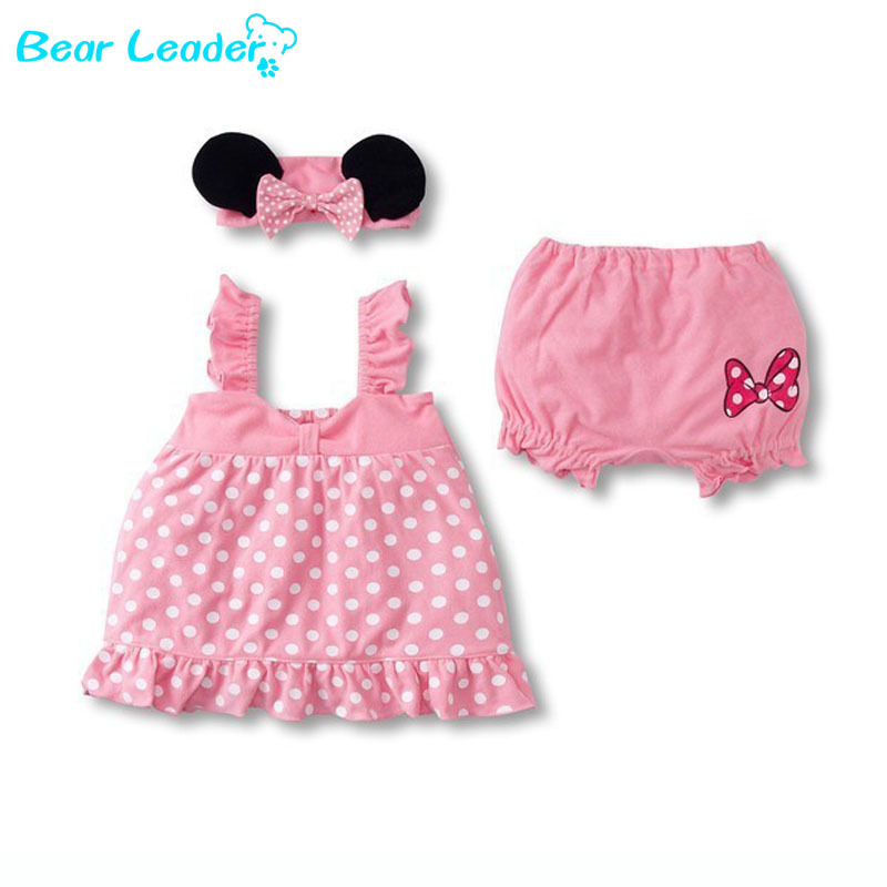 Bear Leader Lovely Baby Girl 3-Piec Suit: Mouse Ears Headband + Polka Dot Dress + White Shorts baby girls clothing sets(China (Mainland))