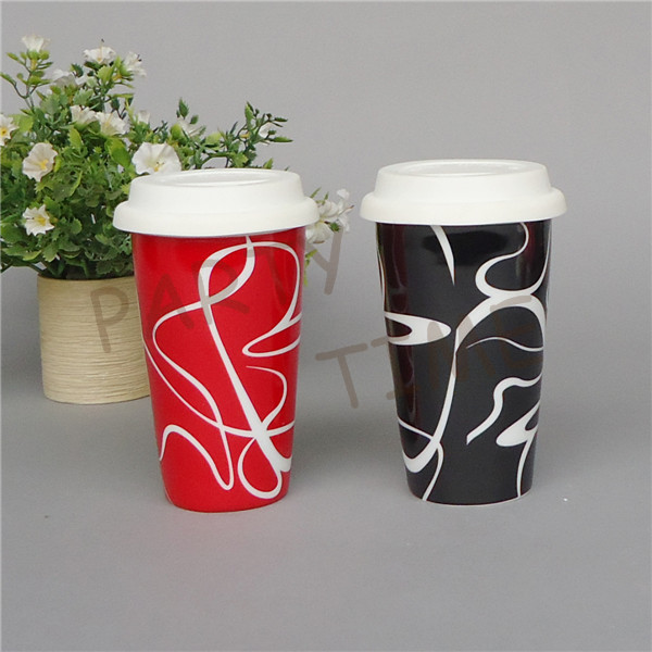 Coffee mug with double wall, ceramic travel mug with curve pattern, anti-hot cup(China (Mainland))