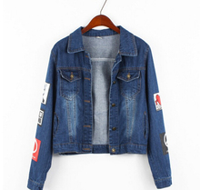 Spring new arrival plus size denim jacket loose coat Print Letter polo collar fashion blue and Sky Blue long-sleeve women jacket
