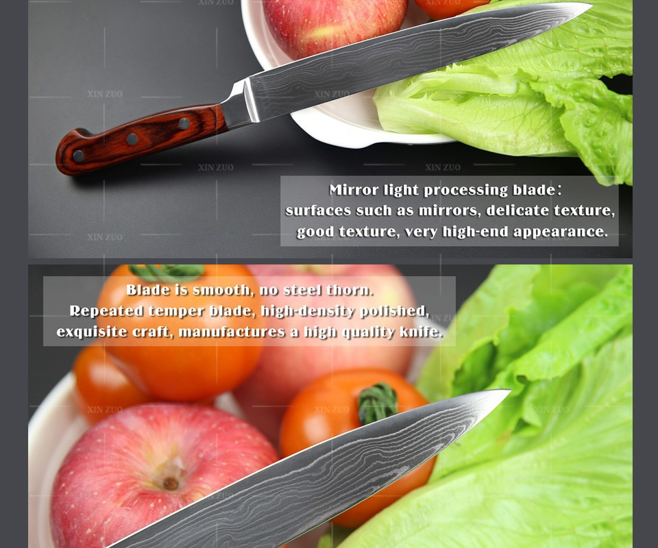 "Buy NEW Japanese VG10 Damascus steel 8"" kitchen cleaver knives  fashion sashimi slicing/Carving knife with wood handle FREE SHIPPING cheap"
