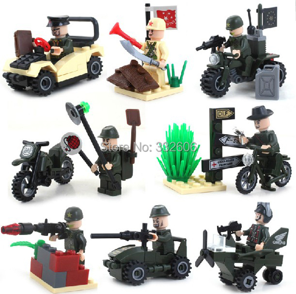 Enlighten Building Blocks Military Motocycle Car Tank Combat Zones Assembling Hot Toys Boys Model Kits - C&T store