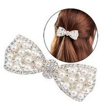 Buy korean rhinestone faux pearls bows hair clip hairclip hair accessories women girls,hairpin barrettes bobby pins headdress for $1.49 in AliExpress store