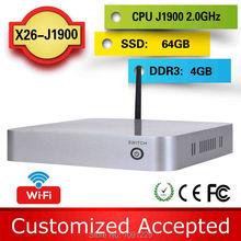Promotional price !!! Various Colors!!! family computer htpc fanless mini pcs x26-j1900 4G ram 64g ssd support Speakers,Plotter