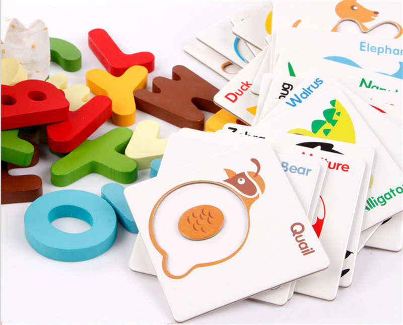 Kids Baby Wooden Learning Educational toys,rainbow letters Puzzle Early wooden toys 4 - Luckydog store