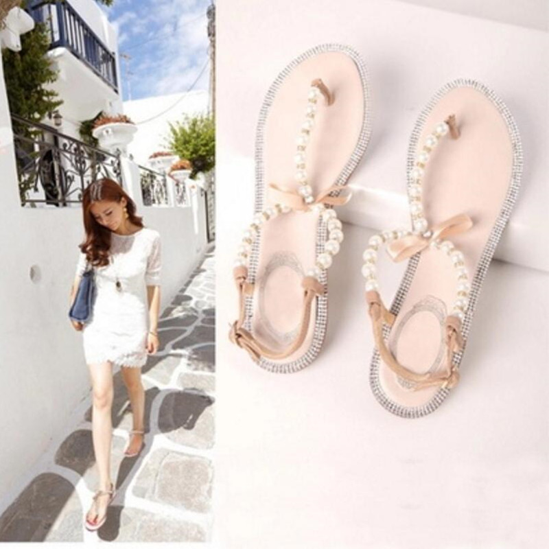 2016 summer new fashion shoes bow diamond pearl Women sandals flat sandals Women shoes larger size