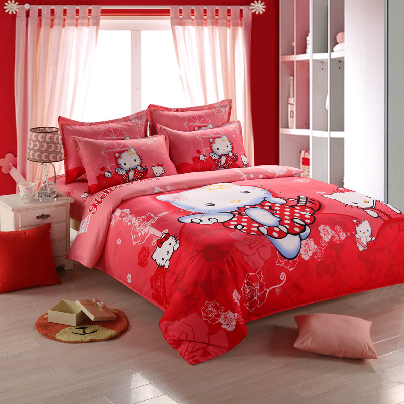 Lovely Pink Red 4 Pcs Hello Kitty Bedding Set Full King Size Cotton Duvet Cover Bed Sheet