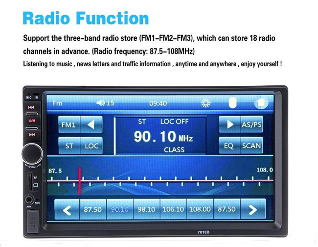 "Universal 7"" HD Bluetooth Touch Screen Car Stereo Radio Player 2 DIN In Dash MP3 MP5 car Media player with rear view camera"