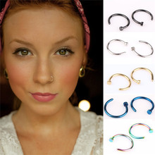2pcs HOT Punk Clip On Fake Nose Open Hoop Ring Lip Earring Navel Ring Body Piercing Studs Stainless Body Steel Fashion Jewelry(China (Mainland))