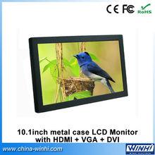 10.1 polegada pleine nouvel écran lcd industrielle 12 V multimédia hdmi DVI VGA publicité surveiller Factory Direct(China (Mainland))
