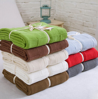 Free shipping high quality cotton knit blanket for Summer Autumn on Sofa Bed 110 180cm in