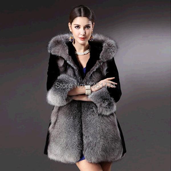 FreeShippingBrand newWinter Womens Hooded Jacket Fox Faux Fur Outwear Long Parka Sleeve Coat