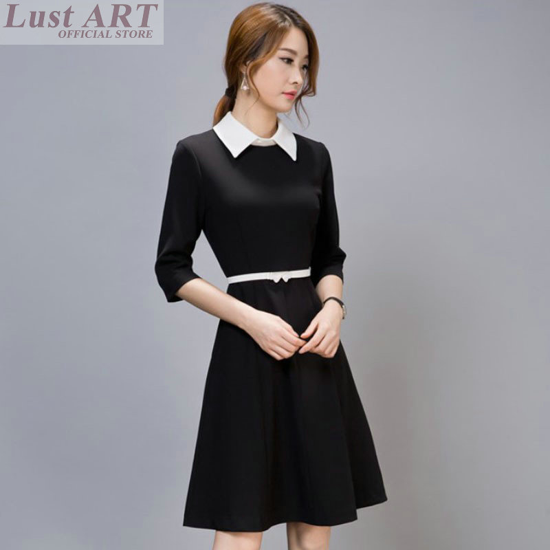 New arrival black dress with white collar fashion ladies