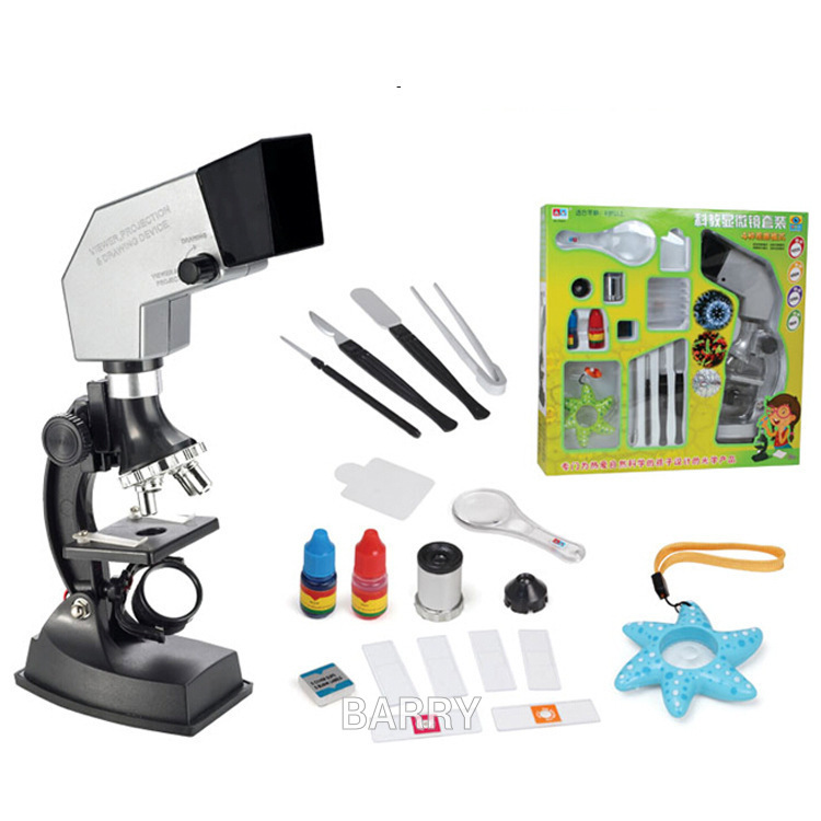 900X 600X 300X 100X 4 way system Pupils Children Scientific experiments Educational Toy Projection Microscope Set Microscope toy