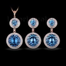 Solid 14Kt Rose Gold Fantastic Natural Diamond Jewelry Set Topaz Earrings & Pendant Gem Hot Sale(China (Mainland))