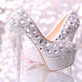 Wedding Shoes Women High Heel Crystal Fashion Bridal shoes woman platforms silver rhinestone Party Prom pump