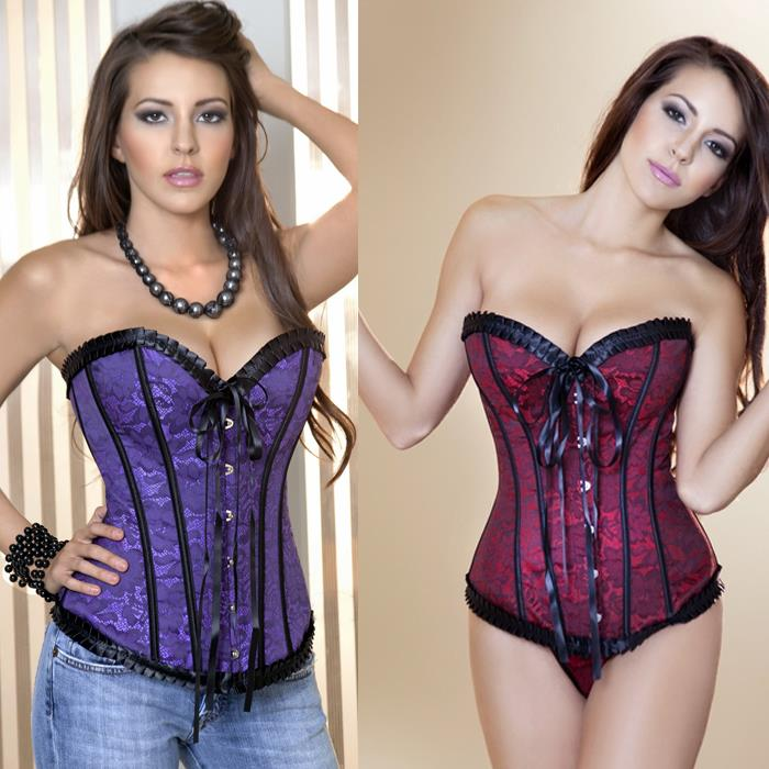 Purple Overbust Outwear Corset Women Red Waist train Top Bow Lace Bustier - JKX Trade Co., Ltd store