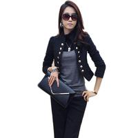 Korean Women Ladies Wear To Work Long Sleeve Button Slim Peplum Cropped Top Casual Jacket Suit Cardigan Coat Free Shipping 1076