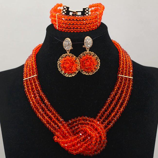 Довольно Оранжевый Африканские Бусы Комплект Ювелирных Изделий Моды Комплект Ювелирных Изделий для Женщин 2016 Коренастый Ювелирных Кристаллов Комплект Бесплатная Доставка WD401
